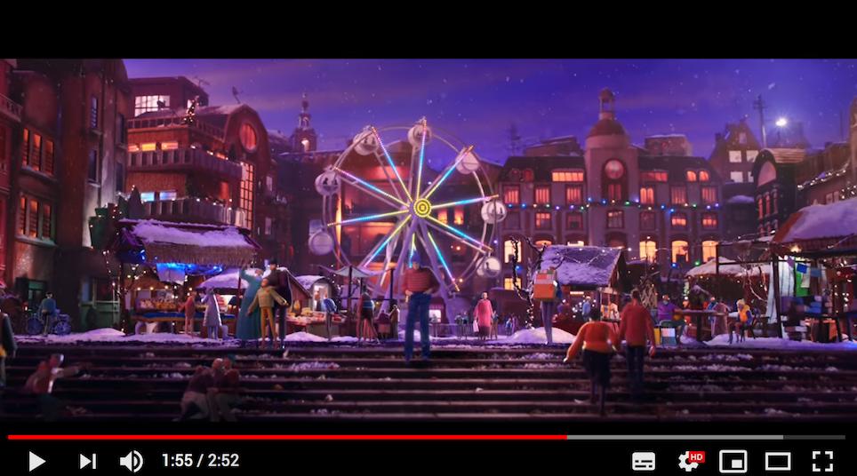 buntes, animiertes Stadtbild mit Jahrmarkt
