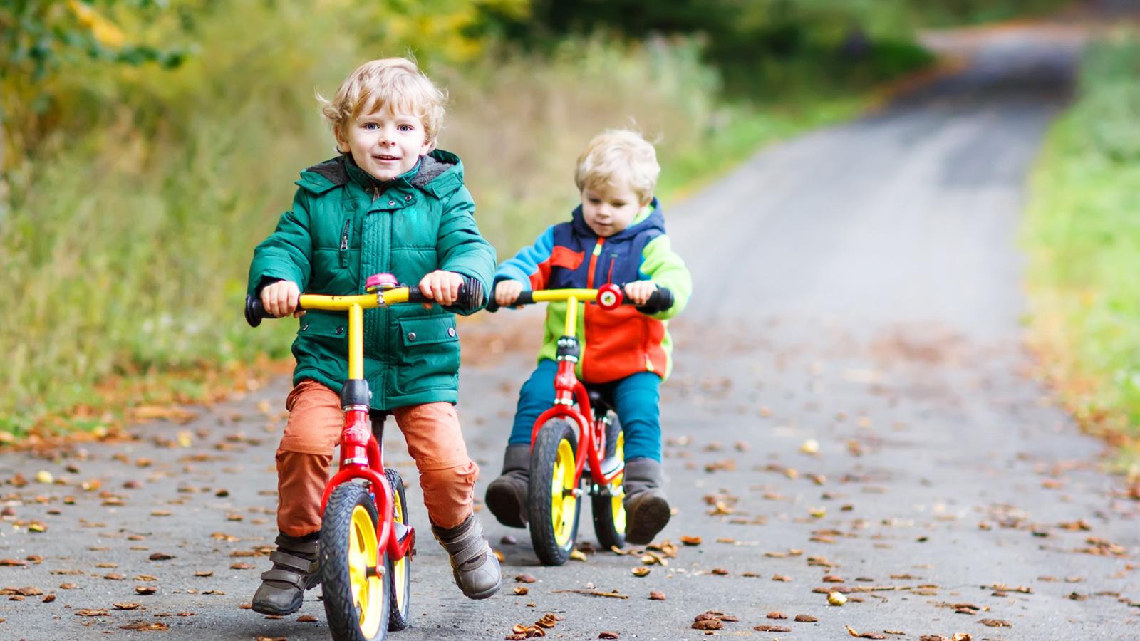 zwei kleine Jungen mit bunten Laufrädern auf einer Straße im Wald