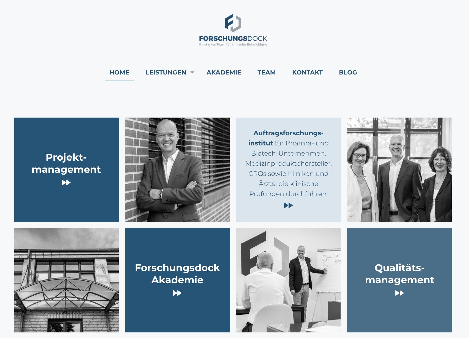 Forschungsdock Webseite Home