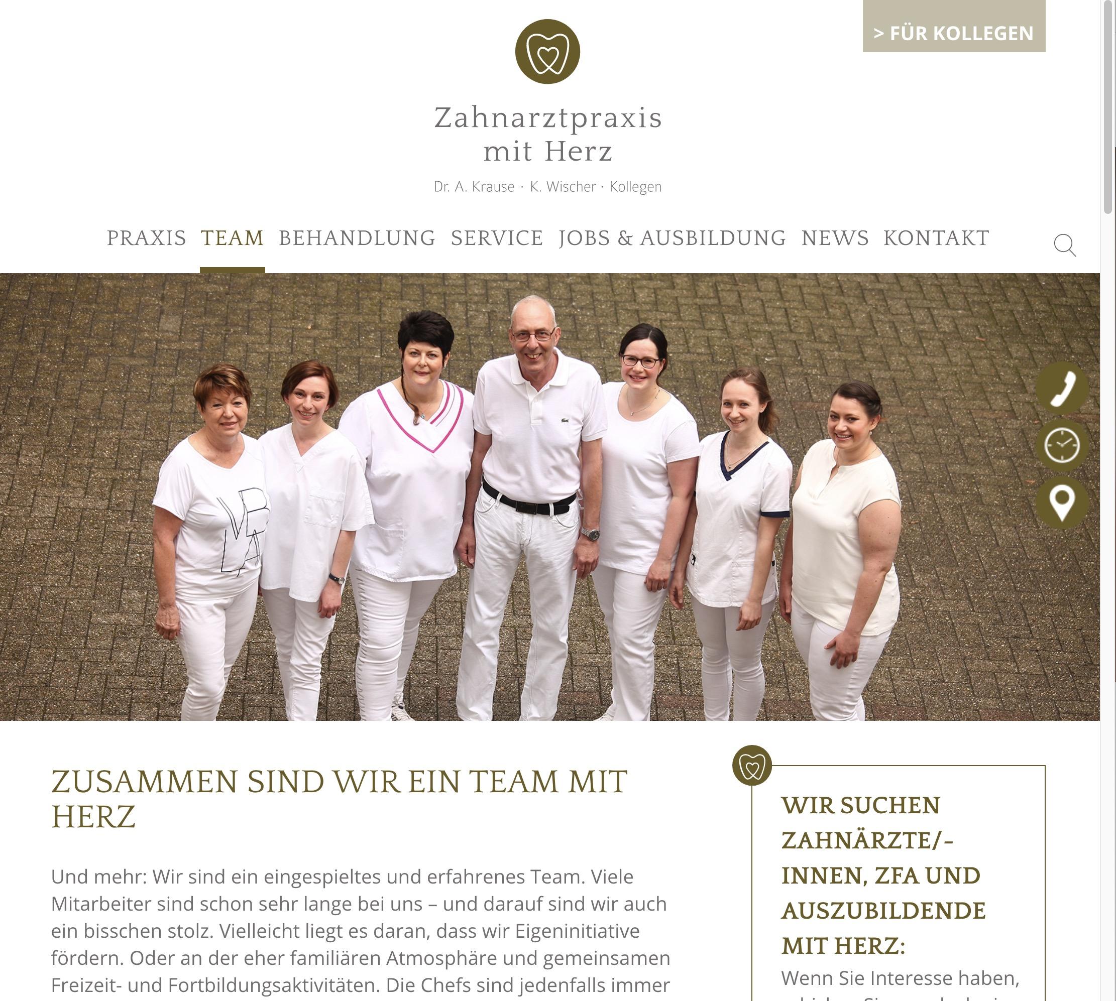 Zahnarztpraxis Krause Webseite Team